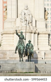 Monument to Miguel de Cervantes Saavedra and bronze sculptures of Don Quixote and Sancho Panza in Madrid, Spain