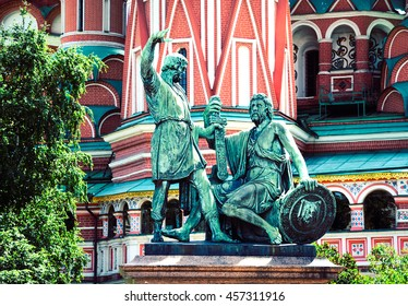 Monument to Minin and Pozharsky on the Red Square in Moscow, Russia. Selective focus, toned