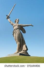 The monument of Motherland Calls in Mamayev Kurgan memorial complex in Volgograd (former Stalingrad), Russia.