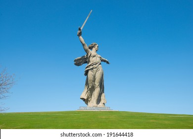 The monument of Motherland Calls in Mamayev Kurgan memorial complex in Volgograd (former Stalingrad), Russia.