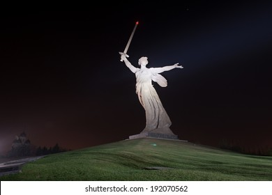The monument of Motherland Calls in Mamayev Kurgan memorial complex at night in Volgograd (former Stalingrad), Russia.