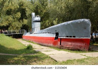 Monument of old soviet submarine in Krasnodar, south Russia