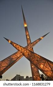 Monument on busy avenue in Goiania Goias Brazil