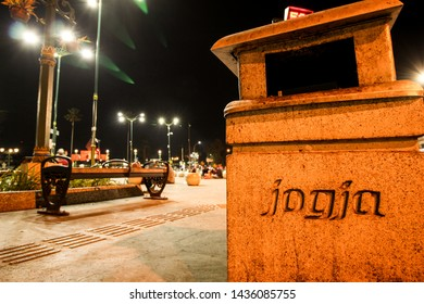 the monument on the streets of Malioboro reads Jogja