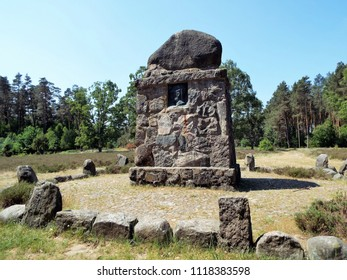 The monument on the Wietzer Berg for the German local poet Hermann Löns is one of many in the Lüneburger Heide. Germany, Hermannsburg 05/31/2018