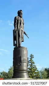 Monument to the painter Shishkin in the town of Elabuga in summer sunny day