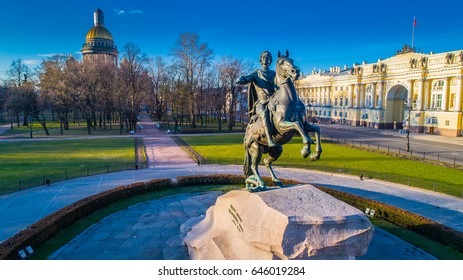 The monument to Peter the first. Bronze Horseman. St. Petersburg. View from the Neva River. Morning in the city. Dawn in St. Petersburg. Monuments of SPb.