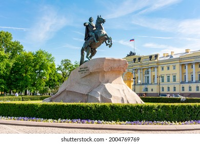 """Monument to Peter the Great and Constitutional Court on Senate square in Saint Petersburg, Russia (inscription """"from Catherine to Peter"""")"""