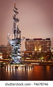 Monument to Peter the Great in Moscow, night scene