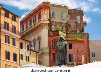 The monument to the philosopher Giordano Bruno at the centre of the square Campo de Fiori, Rome, Italy.