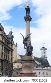 Monument of the polish poet Adam Mickiewicz in Lvov, Ukraine