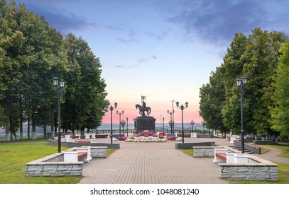 Monument to Prince Vladimir And Saint Fedor in the park named after A. Pushkin. Vladimir. Russia