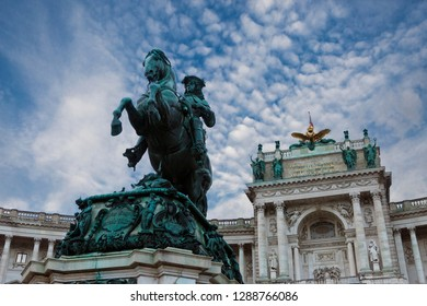 Monument of the Prinz Eugen on Heldenplatz in Hofburg near to the Austrian national library