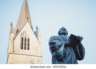 Monument of the Reformer Martin Luther in Erfurt, Germany