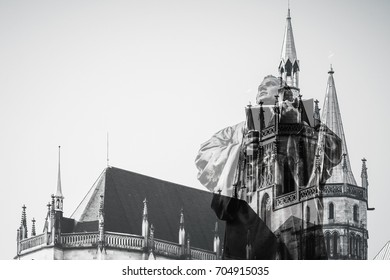 Monument of the Reformer Martin Luther in Erfurt, Germany, Double exposure