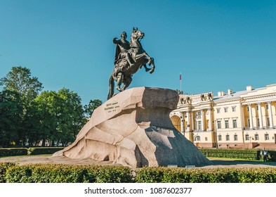 Monument of Russian emperor Peter the Great, known as The Bronze Horseman, in Saint Petersburg, Russia