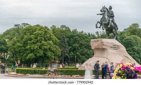 Monument of Russian emperor Peter the Great, known as The Bronze Horseman timelapse, Saint Petersburg , Russia. Tourists walk around and make photos