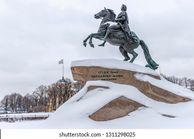 Monument to Russian Emperor Peter I. Also called the Bronze Horseman. St. Petersburg, Russia.