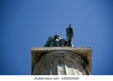 Monument sculpture of the Belgrade Victor made of bronze, located in Kalemegdan park facing the Sava River and Zemun district, Belgrade, Serbia