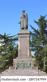 Monument of Shota Rustaveli in Tbilisi, Georgia. Shota Rustaveli was a medieval Georgian poet