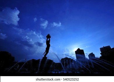 Monument silhouette with water fountain of Jakarta City in blue hours