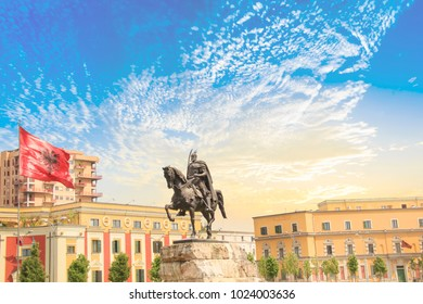 Monument to Skanderbeg in Scanderbeg Square in the center of Tirana, Albania