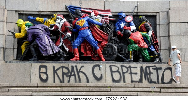 Monument of Soviet Army, was painted from an anonymous artist. He transformed statues into superheroes (cartoon characters: Superman, Santa Claus, Ronald McDonald), Sofia, Bulgaria, June 17, 2011