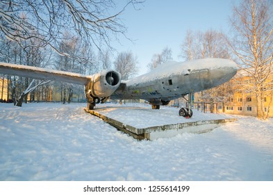 Monument to Soviet jet bomber Il-28. Russia, Arkhangelsk region, Katunino