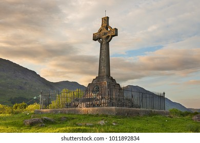 Monument in spring landscape. Lochaber, Highlands of Scotland, United Kingdom, Europe