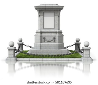 Monument stand with black chain fence on white reflective background - 3D illustration