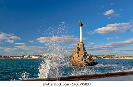 The monument to the sunken ships, the monument in Sevastopol, the architectural symbol of the city, is installed near the seaside Boulevard near Nakhimov square.