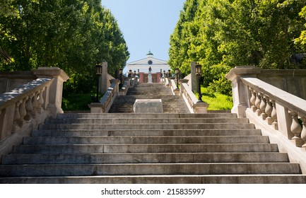 Monument Terrace designed in 1925 as series of steps and memorials up to Courthouse in Lynchburg Virginia