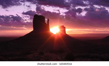 Monument Valley 01 Sunrise from Left & Right Mitten Butte Utah Arizona USA