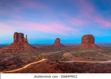Monument Valley, Arizona, USA at dusk.