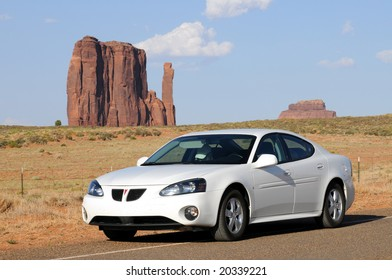 MONUMENT VALLEY, AZ - JUNE 22: Sales of Pontiac Grand Prix, pictured in an iconic desert setting in Monument Valley, Arizona, on June 22, 2008, are down because of high gas prices.
