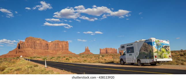 MONUMENT VALLEY, AZ, USA - OCTOBER 4, 2015: Panorama of an RV in Monument Valley, America
