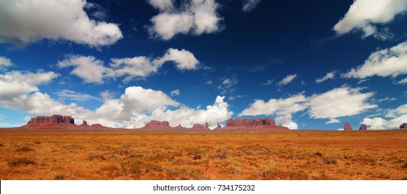 Monument Valley epic scenic nature panoramic landscape on the border between Arizona and Utah in United States.