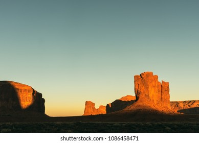Monument Valley in the evening, sunset in Vintage Toned, Old Fashioned, Moab, USA