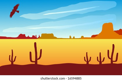 Monument valley landscape with eagle. Also available as vector