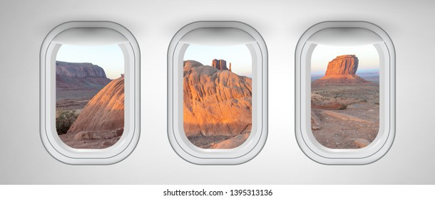 Monument Valley landscape as seen from three airplane windows. Holiday, vacation and travel concept.
