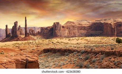 monument valley landscape in the sunset light