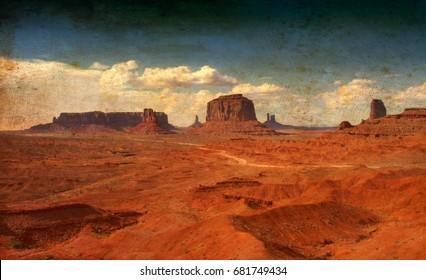 Monument Valley mountains Arizona USA vintage image