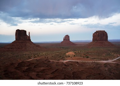 Monument Valley is a Navajo Nation tribal park near the border of Utah and Arizona.