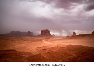 Monument Valley Navajo Tribal Park - Wind and Storm Clouds - Long exposure