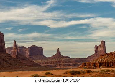 The monument valley, on the border between Utah and Arizona