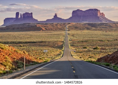 Monument Valley road from Forrest Gump point at sunset, Utah, USA