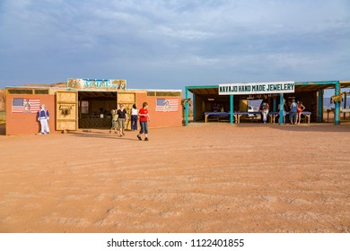 MONUMENT VALLEY, USA - JULY 12, 2008: at John Fords point in the monument valley indians sell refreshments and souvenirs to tourists.