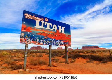 Monument Valley, Utah USA - November 1, 2016: The colorful Welcome to Utah sign with the natural beauty of the red sandstone buttes in the background.