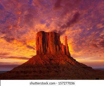 Monument Valley West Mitten at sunset colorful sky Utah