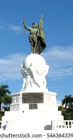 Monument to Vasco Nunez de Balboa in Panama City, Panama, before it was moved to a new location